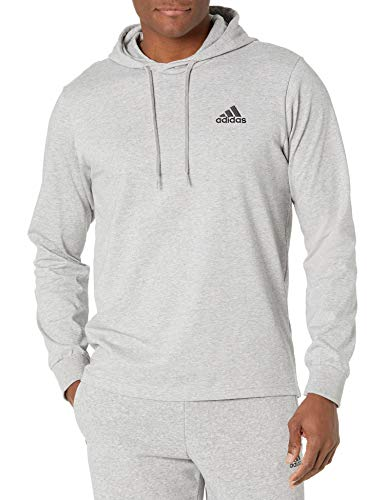 adidas,Mens,Small Logo Single Jersey Hoodie,Medium Grey Heather,X-Large
