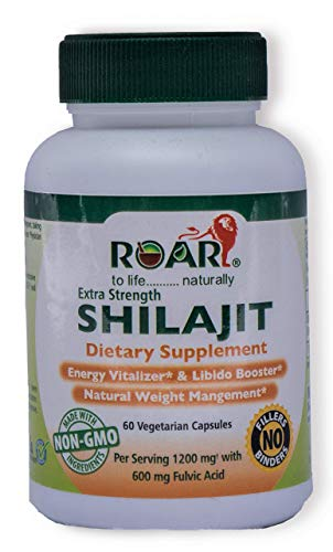 Roar HIGH Potency SHILAJIT 1200mg per dose (600mg Fulvic Acid - 50% Extract) for Libido, Weight Management, and Increased Vigor and Vitality