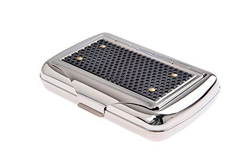 Quantum Abacus Tabacchiera/Portatabacco con porta cartine, in acciaio inossidabile, classisco ed elegante, Mod. 770-02 (DE)