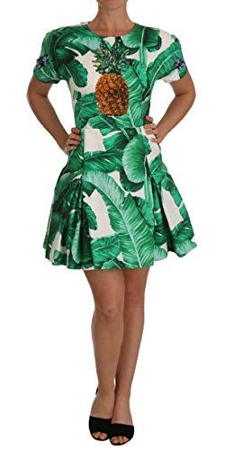 Dolce & Gabbana Damen A-Linie Bananenblatt Ananas Kristall Kleid Italienische Größe IT40 S