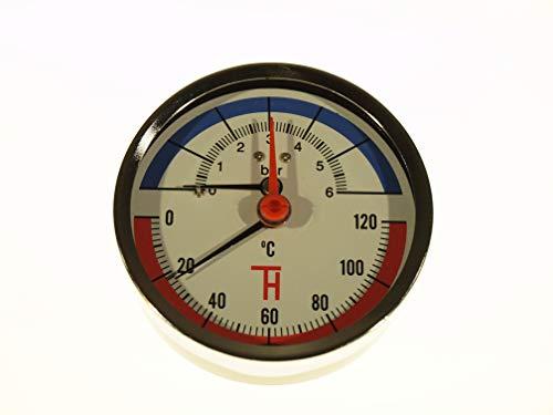 THERMIS Thermomanometer Anschluss von hinten G1/2 (80 mm) 0-120°C (0-6 bar) Temperatur Manometer 3082