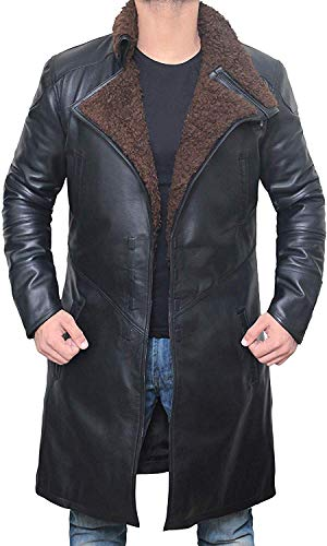 fjackets Shearling Collar Leather Jacket - Black Winter Trench Coat Mens | [1600333], Blade Runner PU M