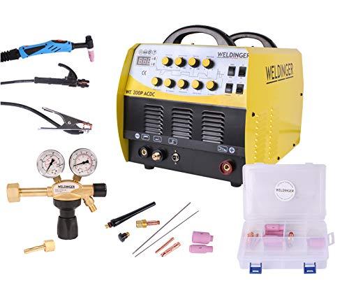 Aktionsset WELDINGER WIG-Schweißinverter WE 200P ACDC HF Puls Druckregler pro WIG-Set1 5 Jahre Garantie