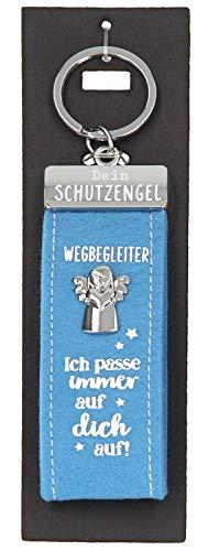 Depesche 10890.003 Schlüsselanhänger aus Filz, mit Schutzengel und Aufschrift, Wegbegleiter-Ich Passe Immer auf Dich auf, blau, ca. 15 cm
