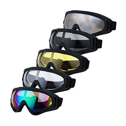 LJDJ Motorcycle Goggles - Glasses Set of 5 - Dirt Bike ATV Motocross Anti-UV Adjustable Riding Offroad Protective Combat Tactical Military Goggles for Men Women Kids Youth Adult