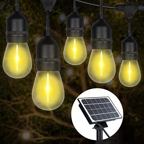 LED Outdoor Garden S14 String Lights Solar Powered, 48FT Hanging 15+1 LED Edison Bulbs E27 Sockets Outdoor Warm White Festoon Lights for Party, Wedding