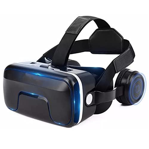HTYQ Gafas De Realidad Virtual 3D Inmersivas, Auriculares VR Portátiles Inteligentes para Teléfonos Android iOS De 4.0 A 6.0 Pulgadas, Auriculares VR Ligeros con Ajuste De Enfoque Independiente