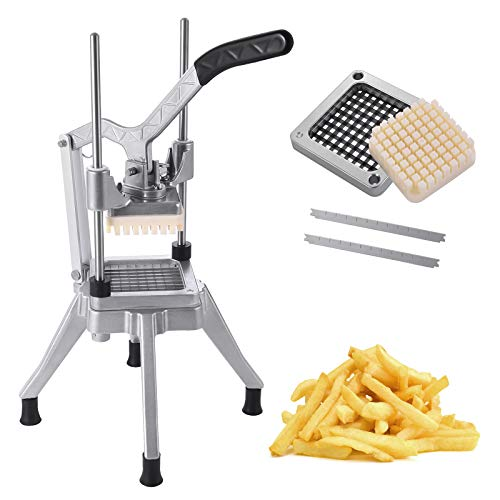 Frifer Commercial Vegetable Fruit French Fry Cutter Upgraded Chopper Dicer Slicer with 1/4″ Blades Professional Stainless Steel Food Cutter for Potato Carrot Tomato Mushroom Cutter 1/4quot