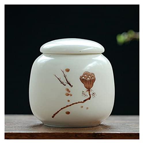 ONETOTOP Impresión de té de Porcelana Caddy Pequeño café Sellado Jarra de Almacenamiento Portátil Medicina Botella Tanques a Prueba de Humedad Contenedor de cerámica