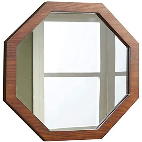 SXFYWYM Espejo-Espejo De Baño, Espejo De Baño LED, Espejo De Maquillaje De Pared De Madera, Espejo Decorativo De Montaje Octogonal De Nogal Ideal para Afeitarse Y Cuidar La Piel En Los Baños