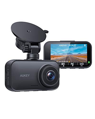 AUKEY Dash Cam FHD 1080P Car Camera 170 Degree Wide-Angle Dash Camera for CarsWith Supercapacitor 2.7 Inch LCD Screen, WDR, G-Sensor, Loop Recording, Motion Detection, Support 128GB MAX
