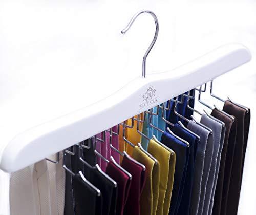 MATAYA Krawattenhalter - Weiß Krawattenbügel aus Holz - Premium Kleiderschrank Kleiderbügel Aufbewahrung für 24 Krawatten (Weiß)