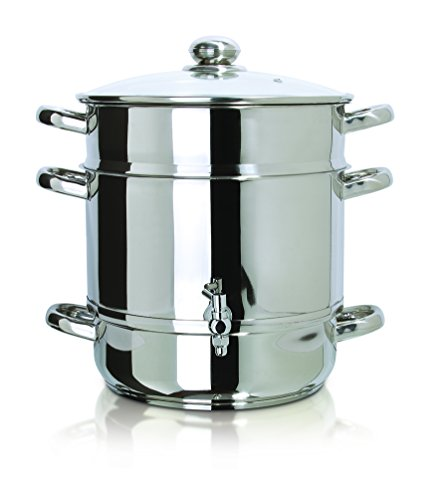 Euro Cuisine Stove Top Steam Juicer, 8 Quarts Juice Container, Stainless Steel