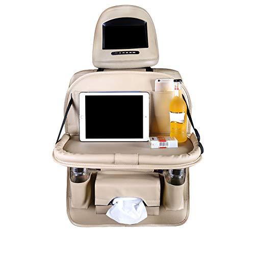 KUANDARMX Durable Organizadores para Coche de Cuero de PU Protector de Asiento de Coche con Sostenedor de Tablet-Bolsillo, Organizador de Asiento Trasero de Coche Multifuncional (Beige) Regalo