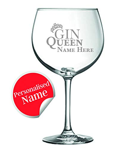 Gin Queen | Personalised Gin Glass | Engraved 24oz Balloon Glass with Gift Box