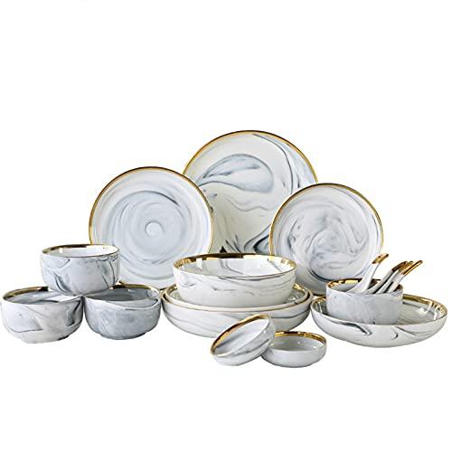 ZYYH 26-delad servis i vitt porslin för sex personer set med porslin med gyllene kant, servis med tallrik, skål, sked, 18 delar