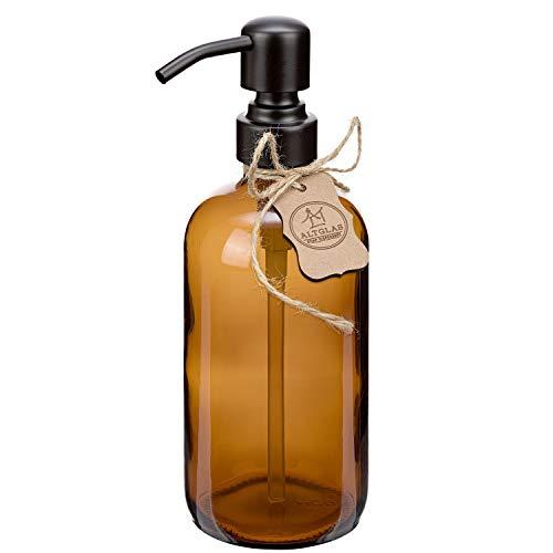 Dispenser per sapone liquido 'Sarajevo' in vetro marrone, bottiglia di vetro da 500 ml, per sapone liquido e lozioni con testa a pompa in acciaio inox in colore nero opaco