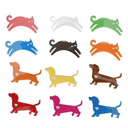 Marcadores de copas de vino, 24 piezas de silicona, gatos, perros, animales, formas, pegatinas para copas de vino, reutilizables, identificadores de vasos para beber, fiestas,...
