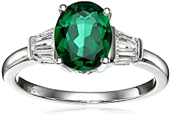 White Gold Lab Emerald and Lab White Sapphire Ring
