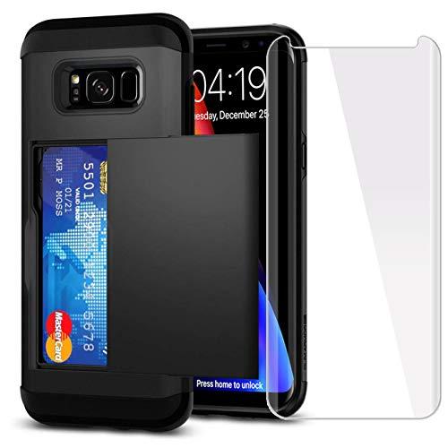 Sumsung - Funda para Galaxy S8 con Tarjetero y Protector de Pantalla de Cristal Templado (2 Unidades), Compatible con Sumsung Galaxy S8 (5.8') (Fabricado en Silicona.), Color Negro