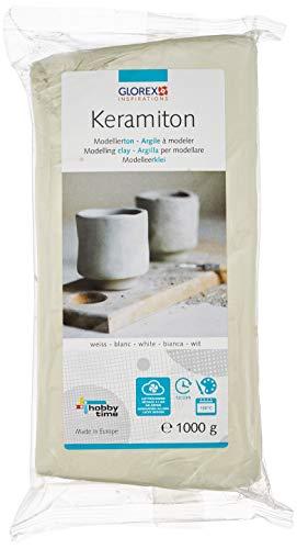 Glorex 61780702 6 1780 702 Keramiton Modellierton weiß, 1000 g, lufthärtend oder brennbar