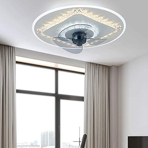 MINGRT Ventilador de techo con luz y mando a distancia, Moderno Invisible Ultra Silencioso Luz del Ventilador Velocidad del VientoAjustable Regulable Lámpara de Techo para Dormitorio comedor sala de e