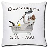 TRIOSK Kissen Katzenmotiv Sternzeichen Wassermann Dekokissen lustig mit Katze Geschenk für...