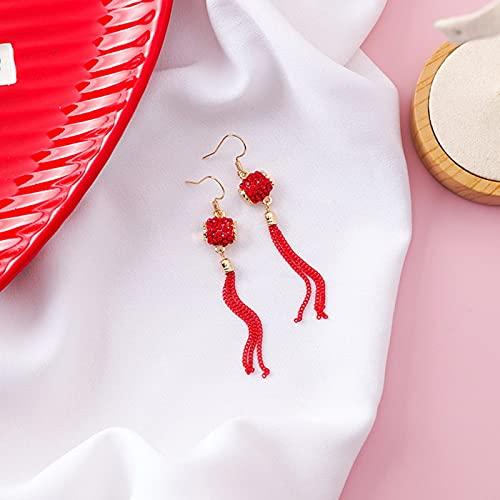 AllForYou Beliebte traditionelle Urlaub Rote Laterne Chinesischen Knoten Karpfen Fisch Lange Quaste baumeln Ohrringe für Frauen Schmuck Pendientes