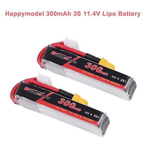 2 stücke Happymodel 3S Lipo 11,4V 300mAh Lipo Batterie HV 30C/60C mit XT30 Stecker für FPV Racing Drone Wie Mobula7 HD (Nicht für 10000KV Version)