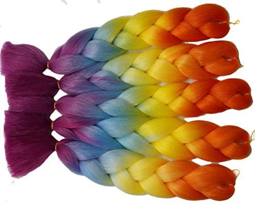 5 Stuks/Lot Colorful Yellow-Purple Rainbow Color Jumbo Ombre Vlechten Haar Extensies, Nationale Vlag Kleur Mode Xpressie Kanekalon Synthetische Vlechten Haar 24 inches