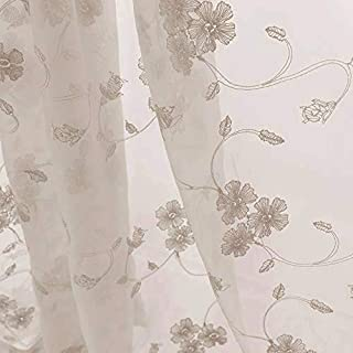 Sheer Curtains for Living Room Embroidered Voile Window Curtain with Floral Design 63 inch Bedroom Kitchen Rod Pocket Window Treatment Sets 1 Pair Taupe