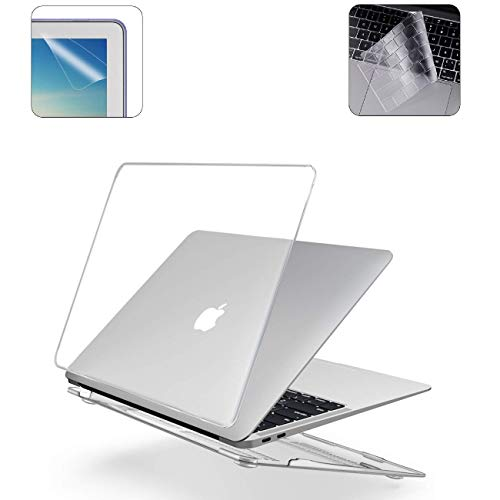 i-Buy Hard Shell Case Compatible for 2020 2019 2018 Macbook Air 13 inch Retina A2179 A1932 + TPU Keyboard Cover + Screen Protector - Crystal Clear