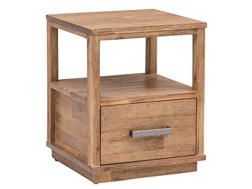 Woodkings® Nachttisch Woodville Holz rustikal Schlafzimmer Beistelltisch Nachtkommode Nako Design Massive Naturmöbel Echtholzmöbel mit Schublade (Akazie gebürstet)