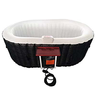ALEKO HTIO2BKW Oval Inflatable Hot Tub Spa with Drink Tray and Cover 2 Person 145 Gallon Black and White