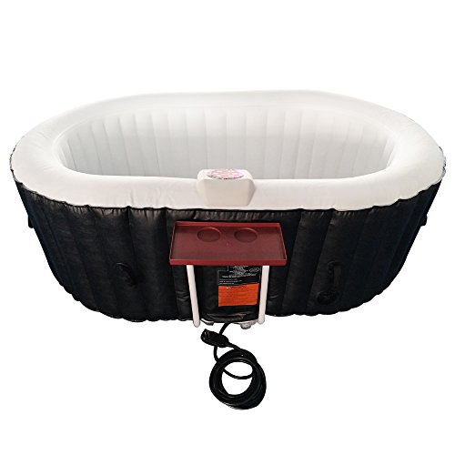 ALEKO HTIO2BKW Oval Inflatable Hot Tub Spa with Drink Tray and Cover 2 Person 145 Gallon Black and...