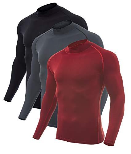 SILKWORLD Men's 3 Pack Compression Shirt Dry Fit Running Long-Sleeved Sports Baselayer,(Black, Wine Red, Dark Grey,X-Large)
