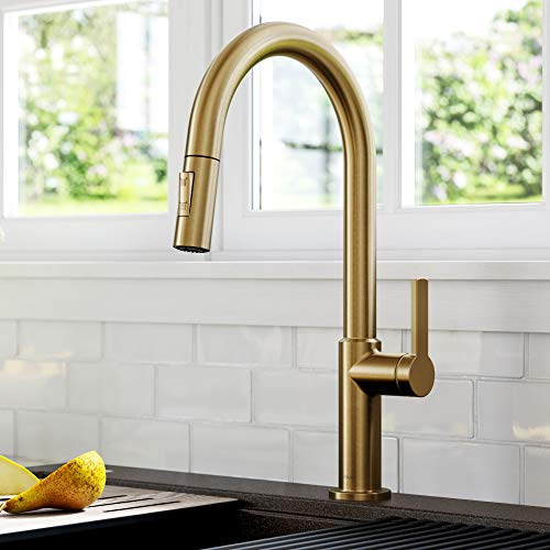 Kraus KPF-2820BB Oletto Single Handle Pull-Down Kitchen Faucet, 17 Inch, Brushed Bronze