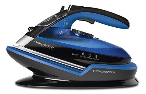 Rowenta Freemove DE5010 Plancha de vapor sin cable con golpe de vapor 115 g/min, 2400 W, 250 ml, suela Microsteam 400 láser, Azul/Negro