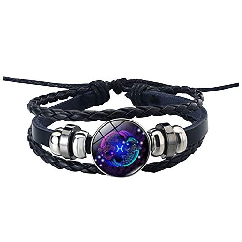 Sternzeichen Seil Armband 12 Konstellation,Sayla Leuchtendes Lederarmband für Damen Herren,Charm Schmuck Accessoires Geschenke,verstellbares Punk Armband geflochten (Fische, One Size)