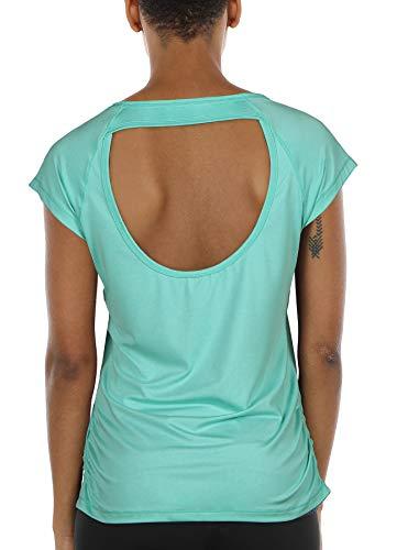 icyzone Damen Sport T-Shirt Kurzarm Laufshirt Rückenfrei Fitness Oberteile Gym Yoga Top (M, Ice Green)