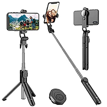 Bluetooth Selfie Stick Rirool Extendable and Tripod Stand Selfie Stick with Wireless Remote for iPhone XR/XS/X/8/Plus/7/Plus/SE/6S/6/Plus Galaxy S9/S8/S7/S6 Android More