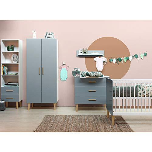 Chambre complète lit bébé 60x120, commode à langer et armoire 2 portes Emma - Blanc et gris