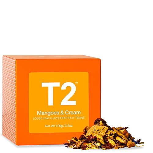 T2 Tea - Mangoes & Cream Fruit Tea, Loose Leaf Fruit Tea in Gift Cube, 100g, 3.5oz