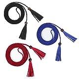WERFORU 3 cinturones de cintura para mujer, con borla fina, para vestido de falda C-negro+azul+rojo Talla única