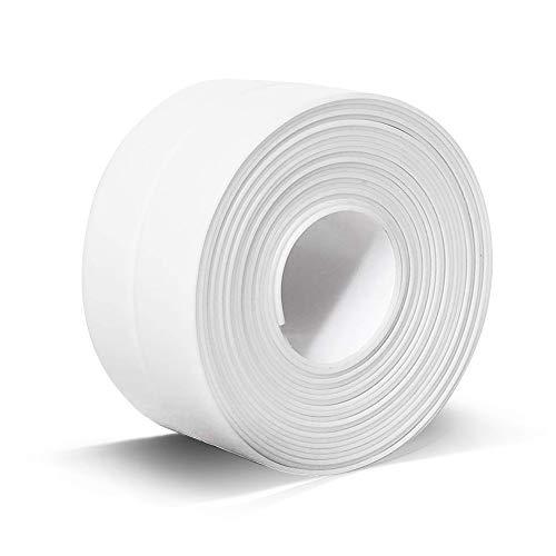"PVC Caulk Strip, Self Adhesive Sealing Tape for Kitchen Bathtub Countertop Bathroom Shower Toilet Wall Corner(1.49"" x 11' White-1Pack)"