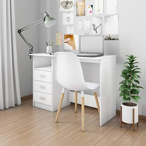 GOTOTOP - Escritorio con 3 cajones de estilo moderno, 110 x 50 x 76 cm, mesa para ordenador de oficina, de madera, mueble de trabajo de aglomerado, espacios de trabajo para ordenador