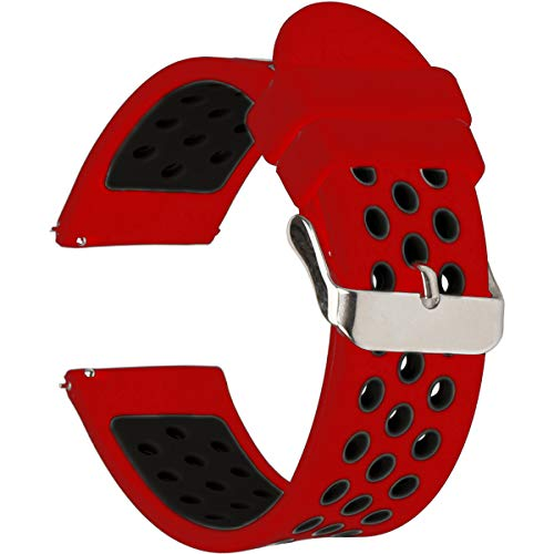 Universal 18mm 20mm 22mm 24mm Width Silicone Watch Band Replacement, Choose Size and Color (20mm, Red/Black)