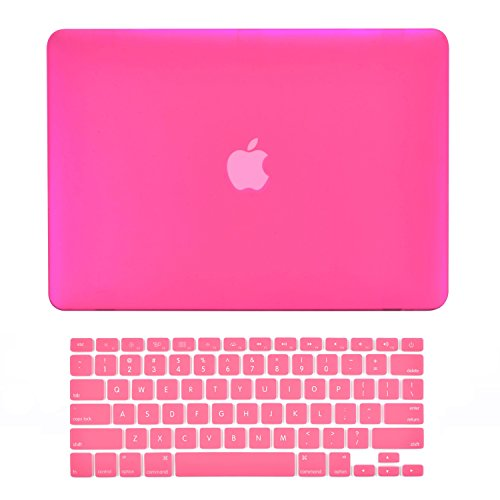 TOP CASE - 2 in 1 Signature Bundle Rubberized Hard Case and Keyboard Cover Compatible MacBook White Unibody 13' (A1342 / Oct 2009-2011) - Hot Pink