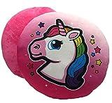 ML Pack de 2 Cojines Emoticonos Unicornio Cojín Almohada Redonda Emoticon Peluche Bordado con Ojos corazón y Sonrisa 33x33x10cm (Negro)