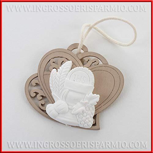 Ingrosso e Risparmio 10 perchas de madera con forma de doble corazón talladas y yeso con cáliz y hostia, para regalo de comunión (con caja naranja)